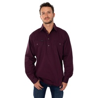 King River Half Button Work Shirt Aubergine