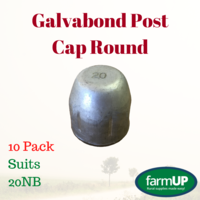 10x GALVABOND POST CAP ROUND suits 20NB PIPE 27mm Tube End Fence Flat Top Pool