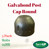 5x GALVABOND POST CAP ROUND suits 25NB PIPE 33.7mm Tube End Fence Flat Top New