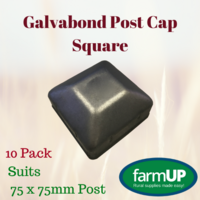 10x Galvabond Fence Post Cap Square Tube End Steel suits 75mm x 75mm