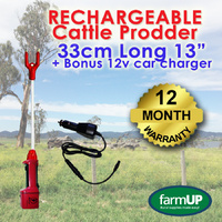 RECHARGEABLE Cattle Prod w/33cm Long 13'' Shaft +12v Car Charger -Sheep Goat Cow